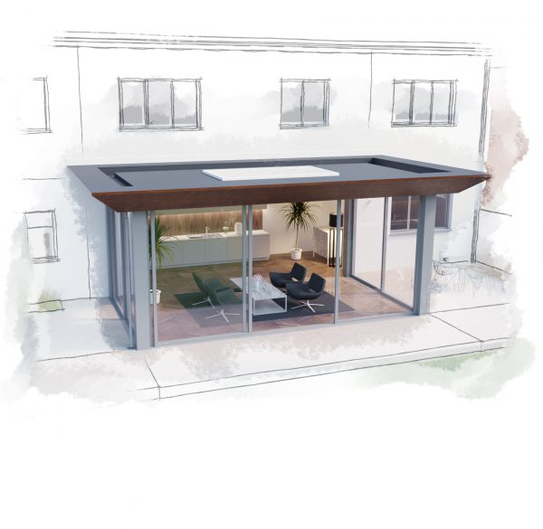 Home extension with feature canopy by Cool Buildings