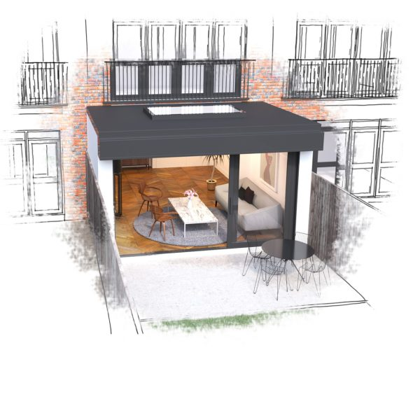 Terraced House Home Extension Glass and Steel